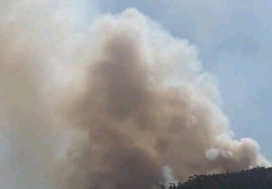 Incêndio florestal atinge a região turística do Monjolo em Baixo Guandu-ES.