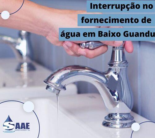 SAAE informa que amanhã vai faltar água em Baixo Guandu-ES.